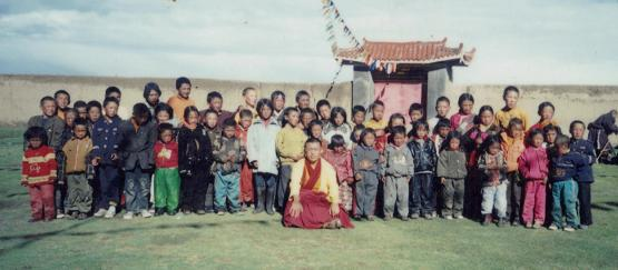 Rinpoche with orphans
